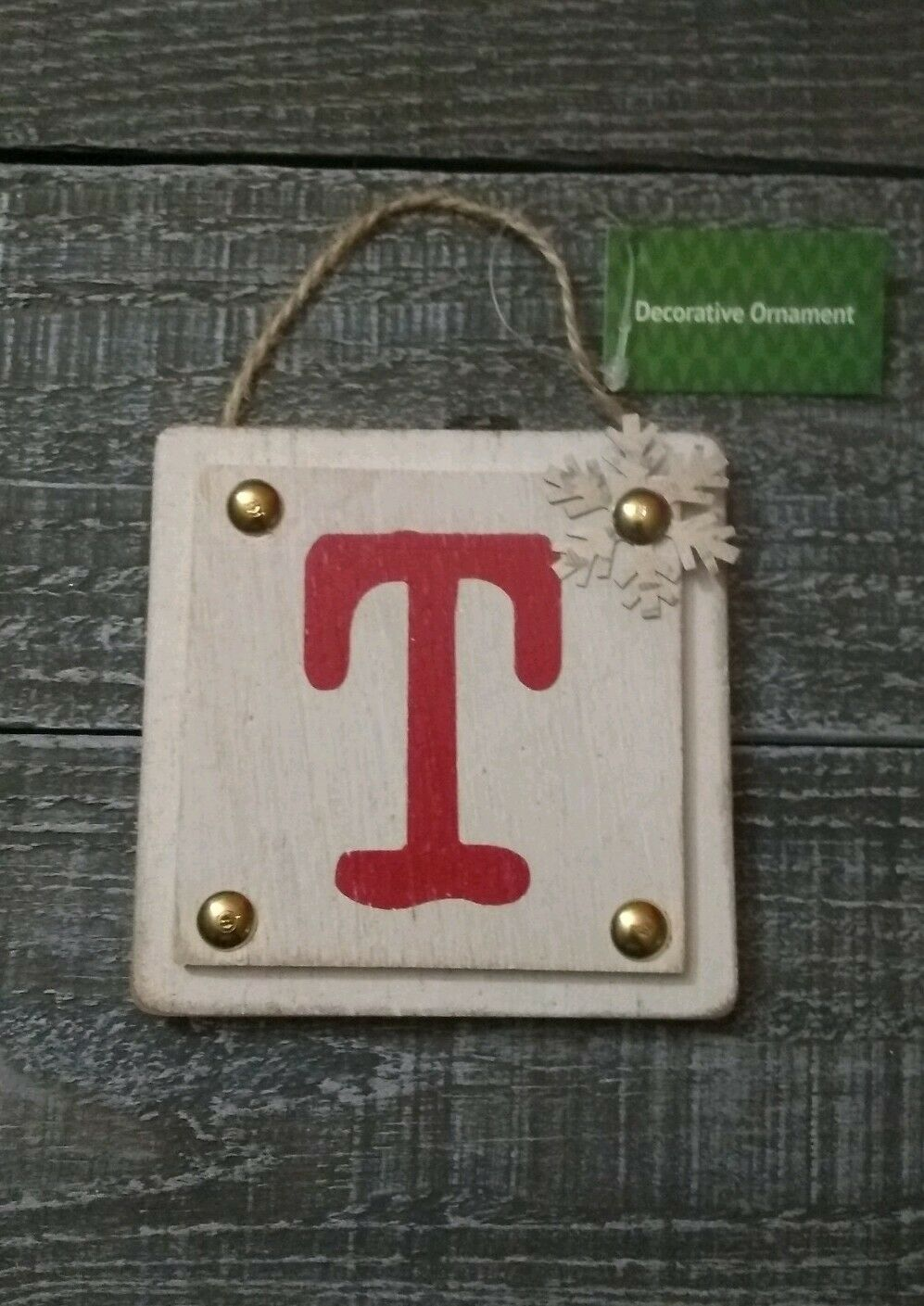 Wooden Monogram Letter T Wall Sign Hanging Twine Decor Ornament New - $14.00