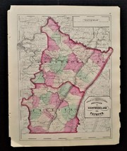 """1872 antique hand colored MAP pa WESTMORELAND and FAYETTE county 17.25""""x... - $67.50"""
