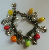 Vintage Fruit, Flowers & Faux Pearls Charm Bracelet  - $24.74