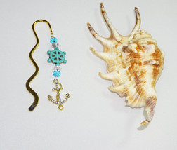 Gold and Turquoise, Small NAUTICAL Bookmark, Great Gift Ideas,  Gold Boo... - $5.99