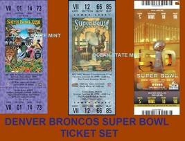 DENVER BRONCOS Set of 3 Super Bowl Replica Ticket Set-LAMINATED - $17.95