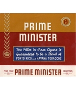2 Cigar Box Labels Prime Minister Embossed Vintage Top Wrap and Inner   - $4.99