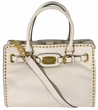 MICHAEL KORS HAMILTON LARGE VANILLA WHITE GOLD EW SATCHEL TOTE PURSE BAG... - $188.00