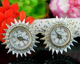 Vintage Coro Real Compass Earrings Miniature Working Germany Screwback - $21.95