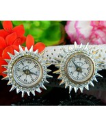 Vintage Coro Real Compass Earrings Miniature Working Germany Screwback - $21.95