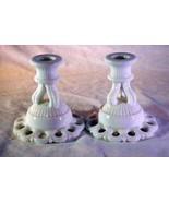 Westmoreland Doric Milk Glass Set of 2 Single Candlesticks - $6.29
