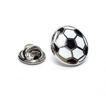 Black & White Football  Badge Lapel /tie Pin Badge 3d effect with clip for rear