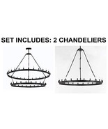 Set of 2-1 Wrought Iron Vintage Barn Metal Castile Two Tier Chandelier W... - $1,613.49