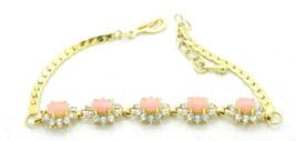 "Vintage Clear Rhinestone Pink Glass Cabochon Flower Bracelet 7-8"" - $19.80"