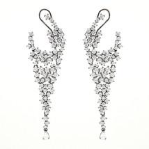 ZirconZ-Pave Signity CZ Sterling Silver Celebrity Style Omega Dangle Earrings - $139.99