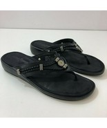 MINNETONKA Silverthorne 700001 Black Leather Thong Sandals Womens US Size 8 - $40.54