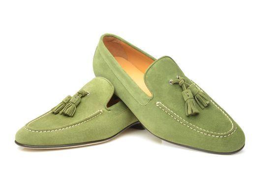 Handmade Men's Green Suede Tassel Slip Ons Loafer Shoes