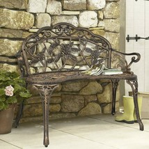 Antique Metal Bench Floral Rose Accented Garden Patio Yard Elegant Styli... - $138.57