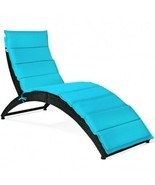 Folding Patio Rattan Portable Lounge Chair Chaise with Cushion-Turquoise... - £168.13 GBP