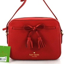 AUTHENTIC NEW NWT KATE SPADE LEATHER HAYES STREET ARLA RED MESSENGER BAG - £104.35 GBP