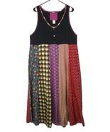 Staley Gretzinger M Medium Jumper Dress Silk Pleated Patchwork Art to Wear - $44.99
