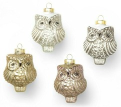 Wondershop Handcrafted Set of 4 Blown Glass Holiday Christmas Owls Ornaments NEW