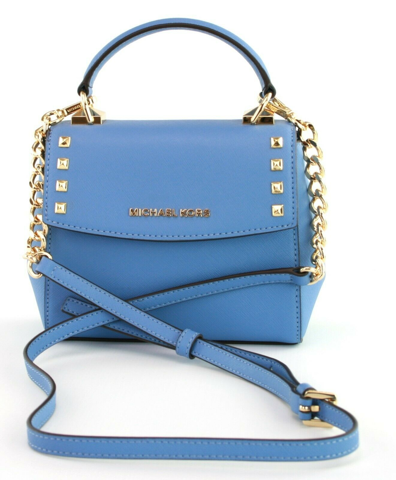 Michael Kors Cross Body Bag Karla Leather Small Handbag French Blue RRP £200 image 1