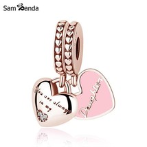 Buy Original 100% 925 Sterling Silver Bead Charm Mother Daughter Pendant... - $22.99