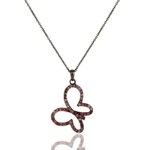 Black Oxidized Sterling Silver Pink Tourmaline Butterfly Chain Pendant Necklace