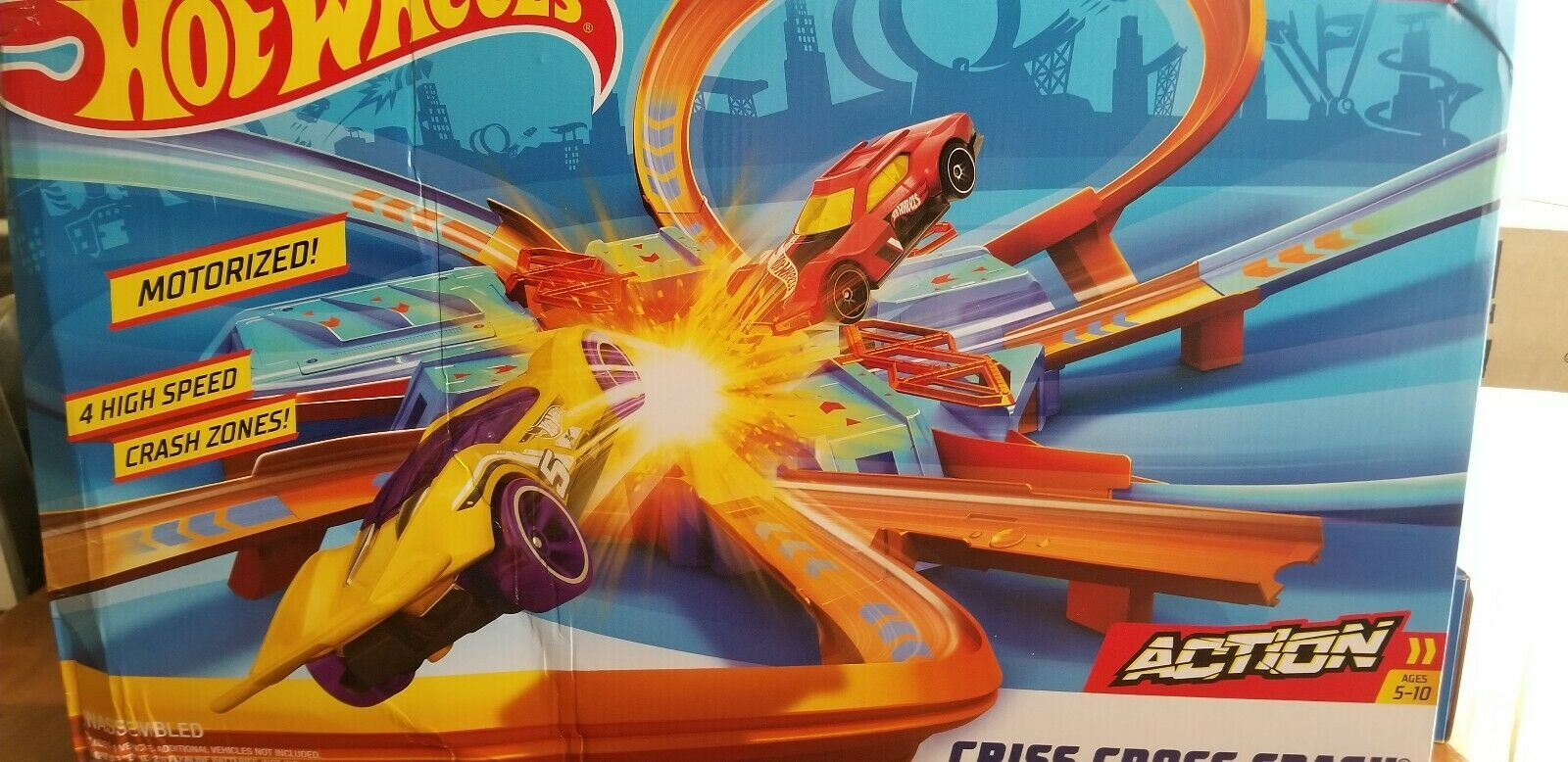 Primary image for Mattel  DTN42 Hot Wheels Criss Cross Crash Track Set New **BOX DAMAGE**