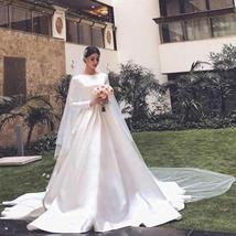 Simple Vintage White Ivory A-line Long Sleeves Royal Satin Castle Bridal Gown image 4