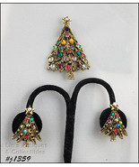 Vintage Holly Craft Christmas Tree Pin and Earrings (#J1359) - $100.00