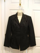 NWT BLACK  FULLY LINED  LINEN BLEND FITTED jacket size 8 - $29.69