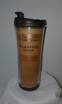 2007 Starbucks Tumbler Brown Paper Gold Travel Insulated 16 oz Coffee fl... - $18.76