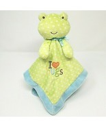 CARTER'S JUST ONE YEAR BABY GREEN FROG DOTS SECURITY BLANKET RATTLE I LO... - $32.57