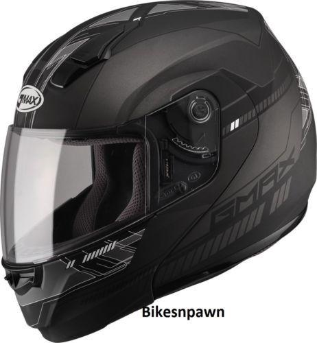 XL GMax MD04 Flat Black/Dark Silver Modular Street Motorcycle Helmet DOT