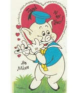 Vintage Valentine Card Pig Plays Flute From Three Little Pigs Disney Unused - $5.93