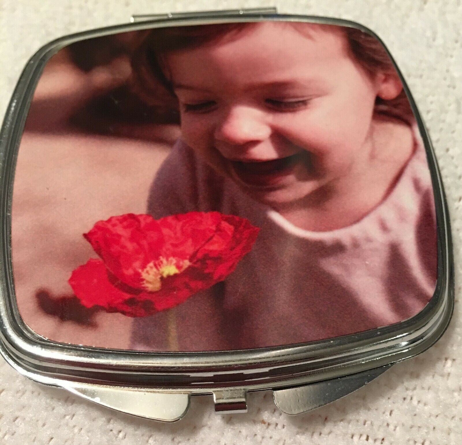 Primary image for Custom Photo Square Silver Metal Compact Mirror With Your Personalized Picture!