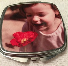 Custom Photo Square Silver Metal Compact Mirror With Your Personalized P... - $18.54