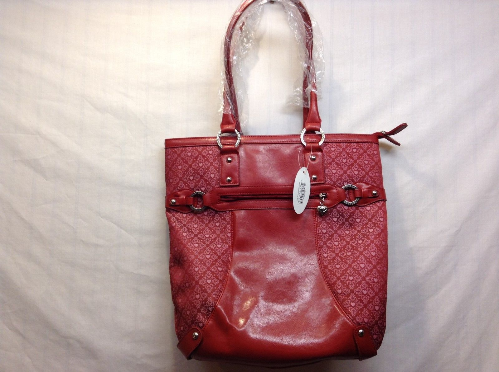 NEW Bingham Jacquerd Red Tote w Heart Accents/Pattern by Dynasty