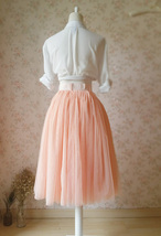 Blush Peach Bachelorette Long Tutu Tulle Skirt Pockets A Line Party Tulle Skirt image 3