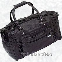 """17"""" Black Leather Tote Travel Bag Duffle Carry On Gym Sport Luggage Over... - $21.99"""