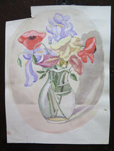 10 3/16x13 3/8in Painting Floral Poppies Opera D'Art Of Painter G Pancaldi - $30.86