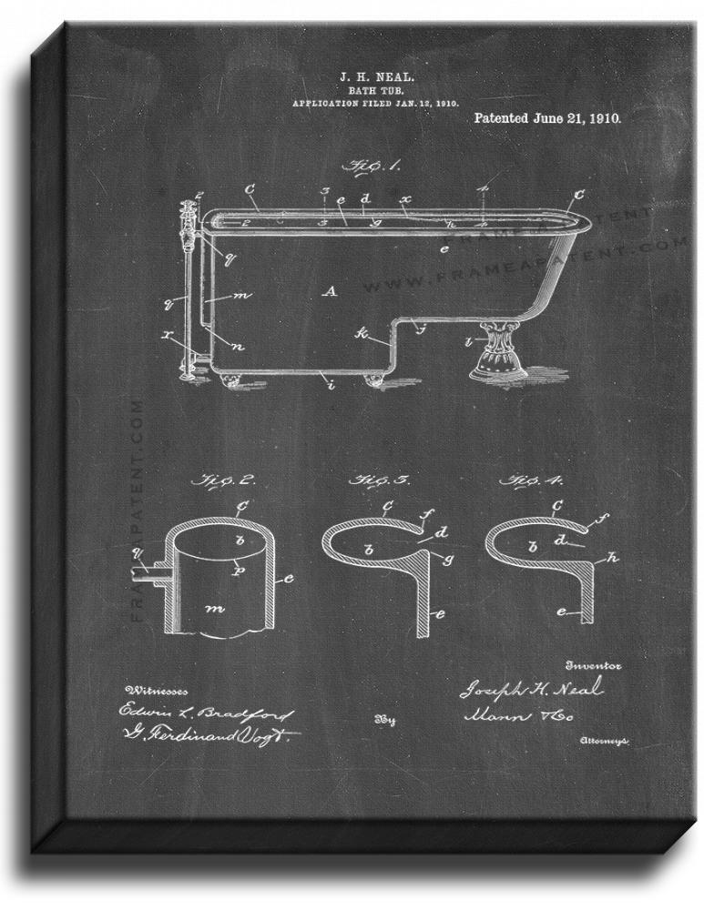 Primary image for Bath Tub Patent Print Chalkboard on Canvas