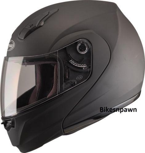 L GMax MD04 Flat Black Modular Street Motorcycle Helmet DOT
