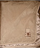 Carters Baby Patchwork Bear Baby Blanket Tan Brown Satin Stripe Trim - $16.28
