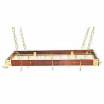 "Rogar Gourmet Collection Rectangular KD Wood Pot Rack 30"" x 15"" - $132.00+"