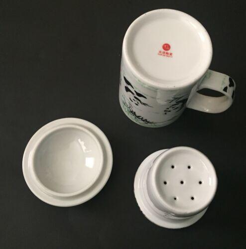 Panda Bear Tea Infuser Mug Tall Cup Leaf Strainer Lid White Black Green image 6