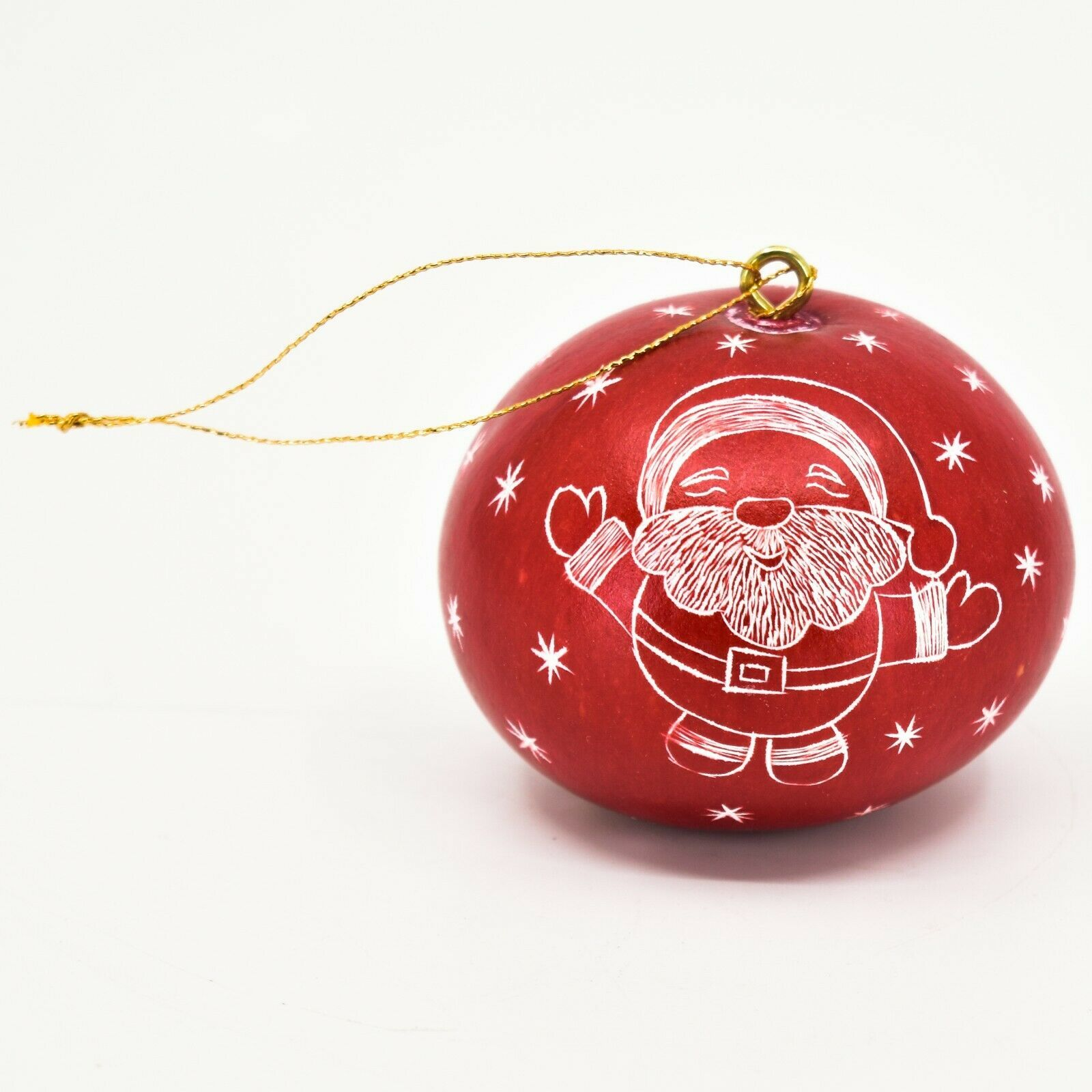 Handcrafted Carved Gourd Art Santa w Sleigh Mini Christmas Ornament Made in Peru