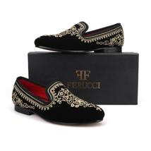 FERUCCI Men Black Velvet with Gold Embroidered Threads Slippers loafers... - $199.99