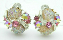Lisner AB Pink Rhinestone Molded Glass Flower Screw Back Vintage Earrings - $29.69