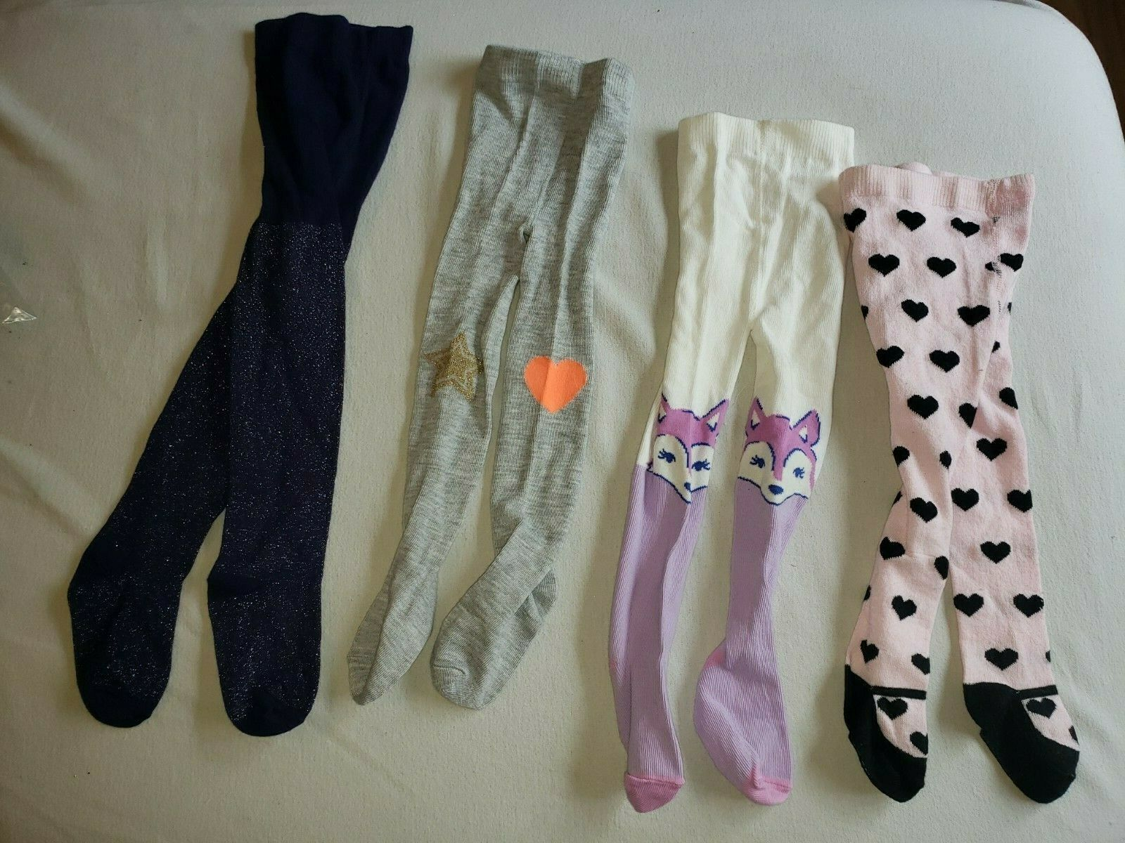 Baby tights Set Lot Infant Girl 6-12 Gymboree Crazy 8 Fox Glitter Sparkle Hearts - $24.74