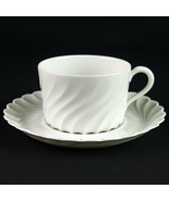 Haviland Limoges Torse Cup & Saucer Set, Vintage All White Swirl Coffee ... - $14.70