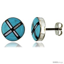 Sterling Silver Handcrafted Blue Turquoise Round Stud Earrings (Genuine Zuni  - $52.74