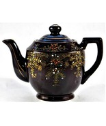 Japanese Red Clay Glazed Teapot Hand Painted Floral Design 20 Ounces - $24.74